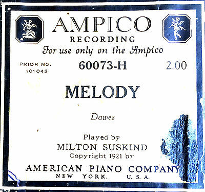 AMPICO Dawes MELODY 60073-H Milton Suskind Reproducing Player Piano Roll