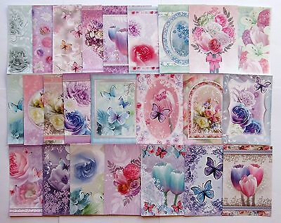 Hunkydory Little Book of Floral Shimmer Card Toppers x 24 Sheets Pearlescent