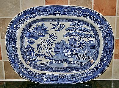 """Antique Victorian Large Willow Pattern Meat Plate - John Tams, Crown Pottery 18"""""""
