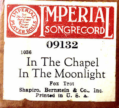 "IMPERIAL ""IN THE CHAPEL IN THE MOONLIGHT"" 09132 Hand Played Player Piano Roll"