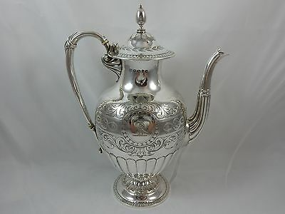 STUNNING, VICTORIAN silver COFFEE POT, 1864, 789gm