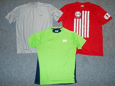 3 Under Armour Heat Gear Mens Large Athletic Shirts Lot                       A1