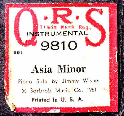 QRS Instrumental Roll ASIA MINOR 9810 Jimmy Wisner Piano Solo Player Piano Roll