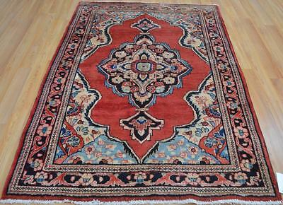4'5 x 6'8 Nice Colors Authentic S Antique Persian Hamedan Handmade Wool Area Rug
