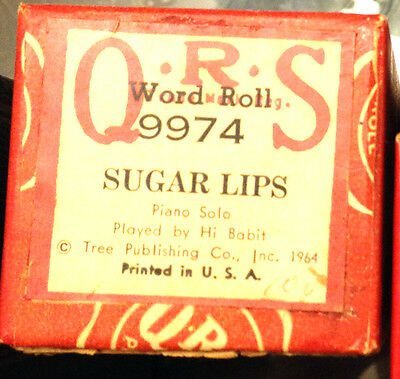 "QRS ""SUGAR LIPS"" Hi Babit Hand Played Player Piano Roll 9974"
