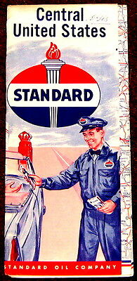Central United States Map Standard Oil 1956 c