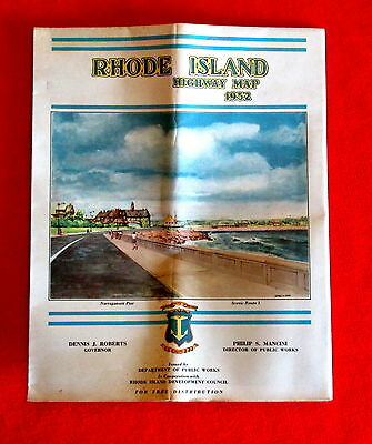 Rhode Island State Official Highway Map 1952 t4c