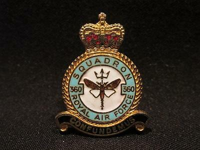 Royal Air Force 360 Squadron Confundemus Post WWII Brass & Enamel Lapel Pin