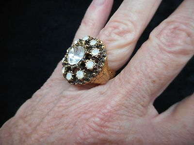 Authentic Vintage-1960's Glamour Rhinestone Domed Round Ring Adjustable