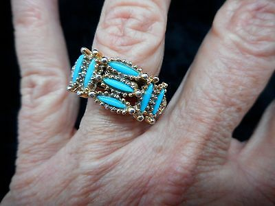 Authentic Vintage-1960's Faux Turquoise Inlaid Southwestern Ring Adjustable