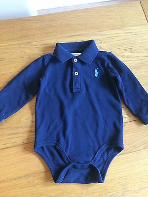 Ralph Lauren Baby Boy Polo Shirt Bodysuit 6-9 M Navy