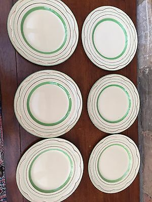Clarice Cliff Green Band Side Plates - 8 inch Diameter