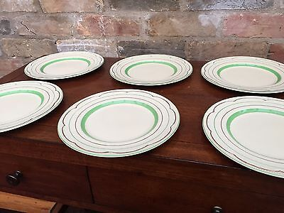 "Clarice Cliff Green Band Medium Plates - 9"" Diameter"