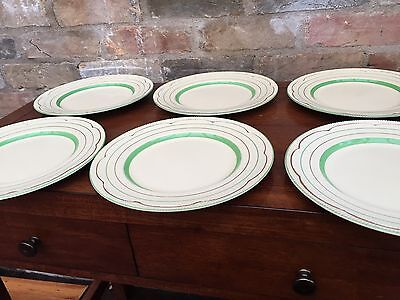 "Clarice Cliff Green Band Dinner Plates - 10"" Diameter"