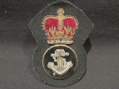 Royal Navy Post WWII Heavily Padded Petty Officer's Bouillon Cap Badge
