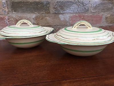 Clarice Cliff Green Band Tureen - Pair