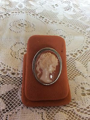 Very Pretty Silver 800 Old Cameo Brooch And Pendant