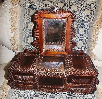 Antique Early 1900's TRAMP FOLK ART Carved Wooden Jewelry Box Mirror Drawers