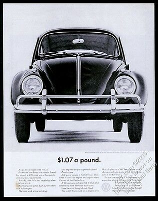 1963 VW Volkswagen Beetle classic car photo $1.07 a Pound vintage print ad