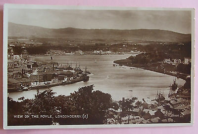 RP Postcard c.1930 VIEW ON THE FOYLE LONDONDERRY NORTHERN IRELAND