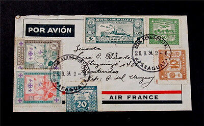 nystamps Paraguay Flight Cover Rare