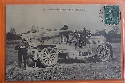 MILITARY Postcard 1911 FRENCH CAR FOR SHOOTING FROM BALLONS,POUR TIR CONTRE