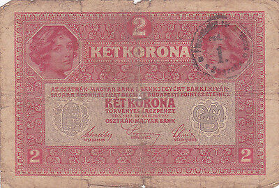 "2 Korona With Contemporary Fake Stamp+ Cancellation""nespravna""""invalid""1919N.c"