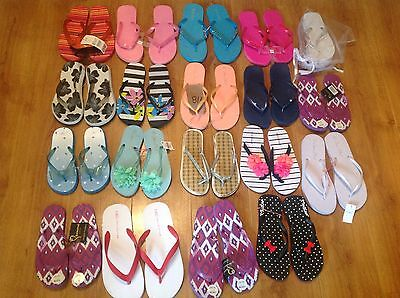 Job Lot Of 19 Pairs Of Ladies Flip Flops,mixed Brands & Sizes,all New.