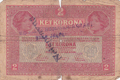 "2 Korona With Contemporary Fake Stamp+ Cancellation""nespravna""""invalid""1919N.d"