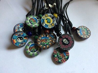 FImo Disc NECKLACES lot of 10 Fimo Pendant Chokers WHOLESALE NEW NWT Black Cord