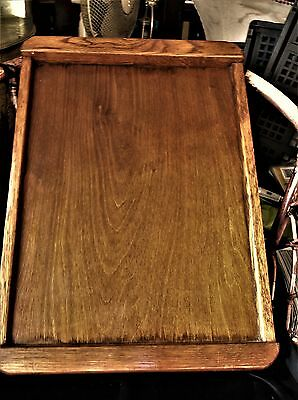 "Large Vintage Wooden Butler ? Tray Rich Oak End Handles Lovely Grain 24.5"" X 18"""