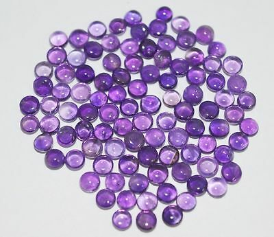 10 PIECES OF 3mm ROUND CABOCHON-CUT PURPLE NATURAL BRAZILIAN AMETHYST £1 NR!