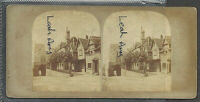 Original Early Stereoview Of Leicesters Hospital, Warwick.