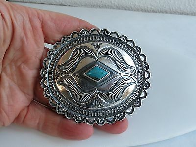 Navajo Roland Dixson Sterling Silver Turquoise Scalloped Concho 78g Belt Buckle