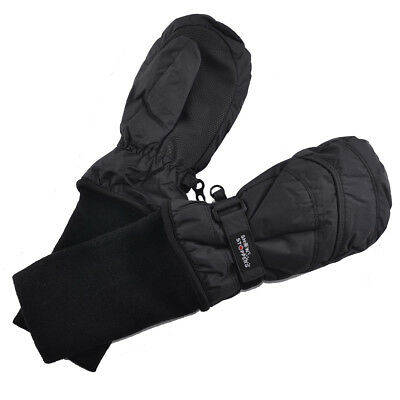 SnowStoppers Extra-Long Cuff Nylon Mittens for Kids - Large, Black