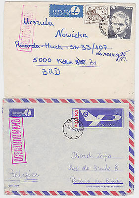 2x POLAND CENSORED AIRMAIL COVERS WADOWICE/WEJHEROWO- BELGIUM/GERMANY