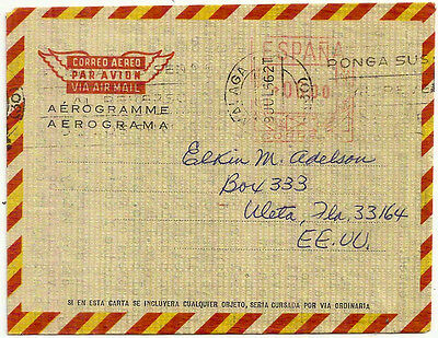 Spain Metered Aerogramme 1966 Malaga- Usa Commercially Used