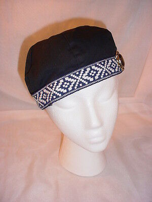 Renaissance Hat Black Cotton with Braid and Embellishment 22 inch Lined
