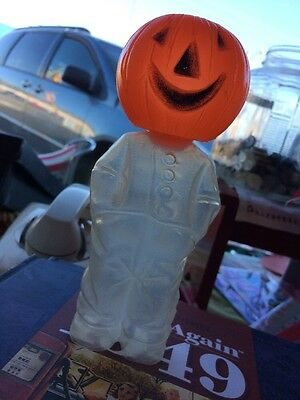 Vintage Pumpkin Head Halloween Candy Container 7 1/2 Inches Tall