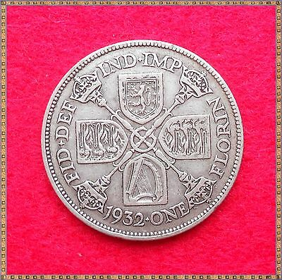 1932 George V Silver Florin/ Two Shillings (2/-) Coin.