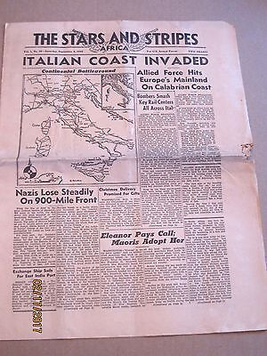 Stars and Stripes 9/4/1943~ITALIAN COAST INVADED~Nazis Lose Steadily on Front