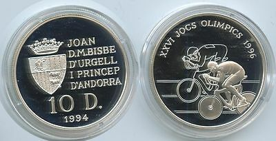 GS284 - Andorra 10 Diners 1994 KM#95 Summer Olympic Games Radsport Proof Silber