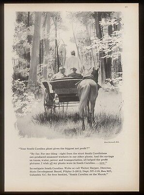 1959 Barnwell horse wagon art South Carolina travel ad