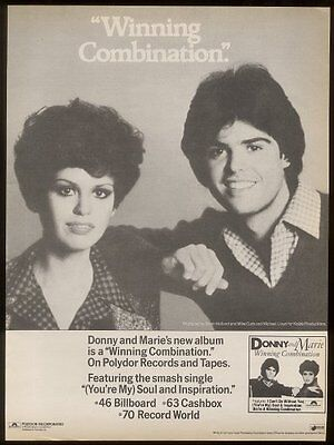 1977 Donnie and Marie Osmond photo Soul Inspiration song release ad