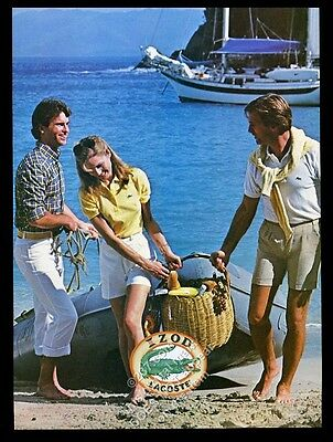 1982 Izod Lacoste alligator shirt shorts yacht photo vintage fashion print ad