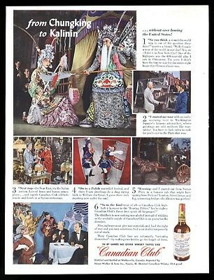 1943 NYC Chinatown etc photo Canadian Club whisky ad