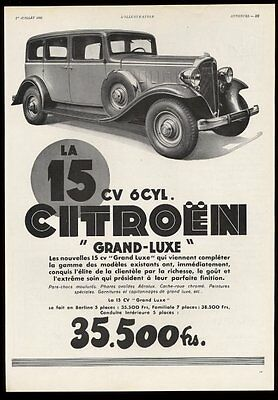 1933 Citroen Grand-Luxe car photo BIG French print ad