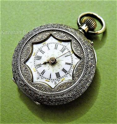 Antique Continental Fancy Design Solid Silver Fob Pocket Watch Spares Repair