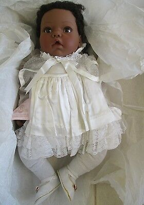 1999 Lee Middleton Angel Baby African American Baby Doll #117/2000 W/ Box & Coa