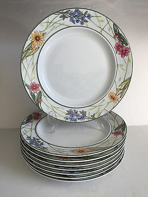 """8pcs Dansk CAFE FLORAL Large Service DINNER Plates 11 1/8"""" one with small chip"""